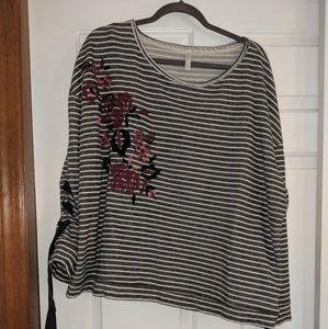 Plus size lace up sweatshirt